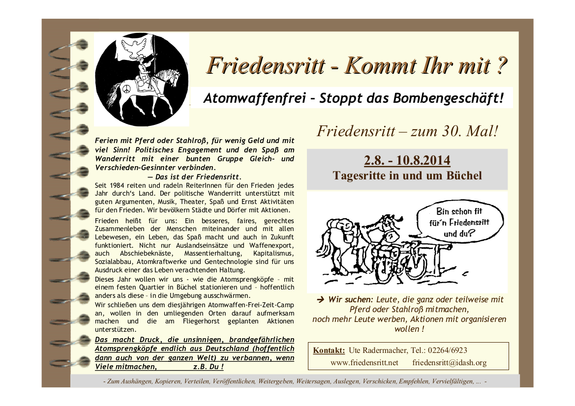 Flyer Friedensritt 2014