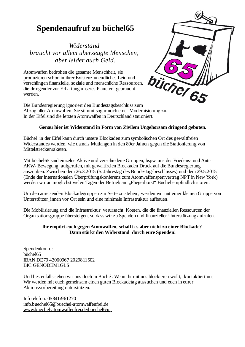 Spendenaufruf büchel65